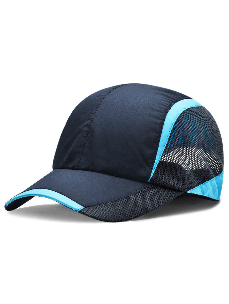 Solid Color Breathable Mesh Graphic Hat - MIDNIGHT BLUE