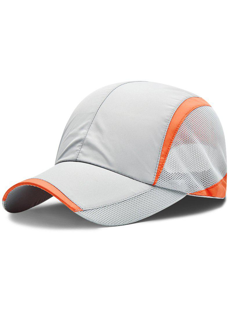 Solid Color Breathable Mesh Graphic Hat - LIGHT GRAY