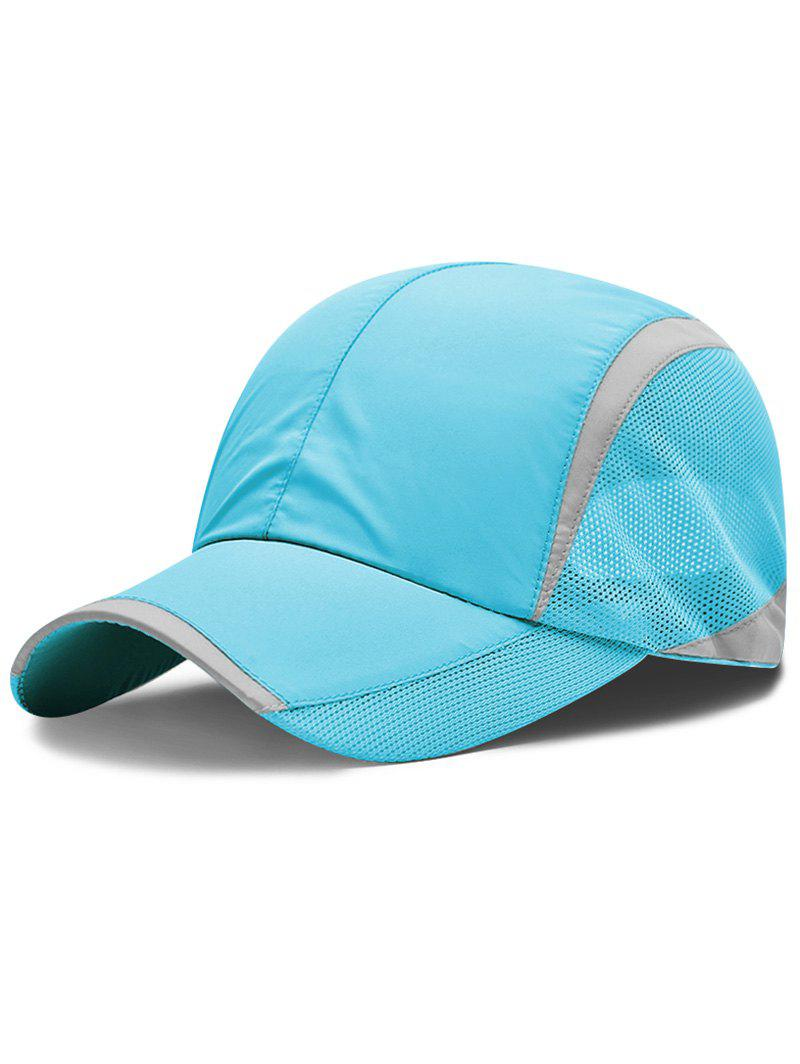 Solid Color Breathable Mesh Graphic Hat - DEEP SKY BLUE