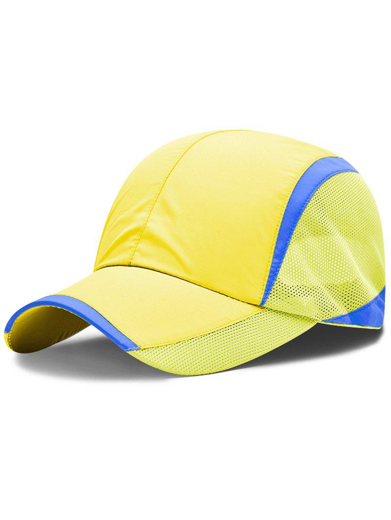 Solid Color Breathable Mesh Graphic Hat - YELLOW