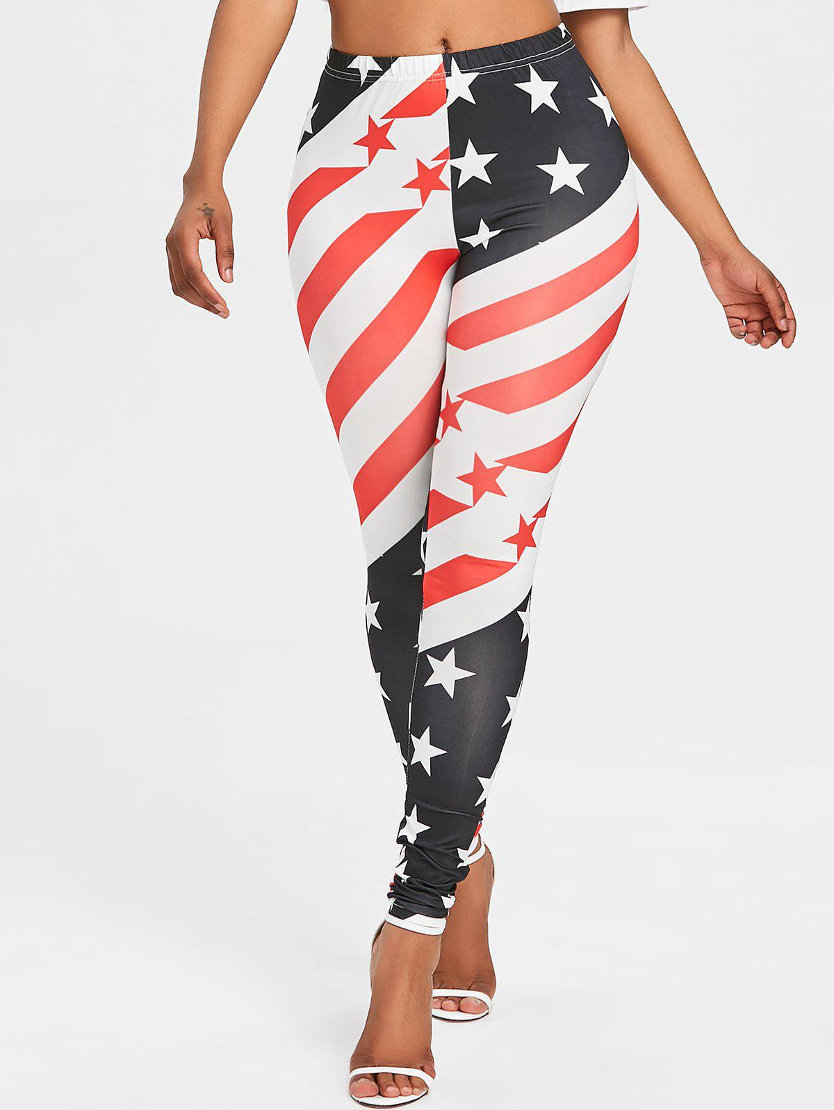 American Flag High Waist Leggings - COLORMIX 2XL