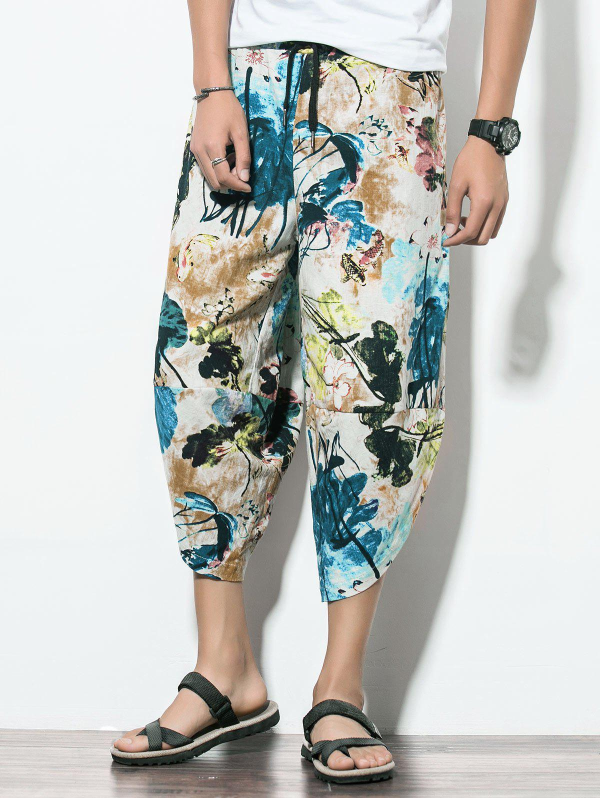 Elastic Waist Floral Pattern Nine Minutes of Jogger Pants plus size ruffle floral flowy dress