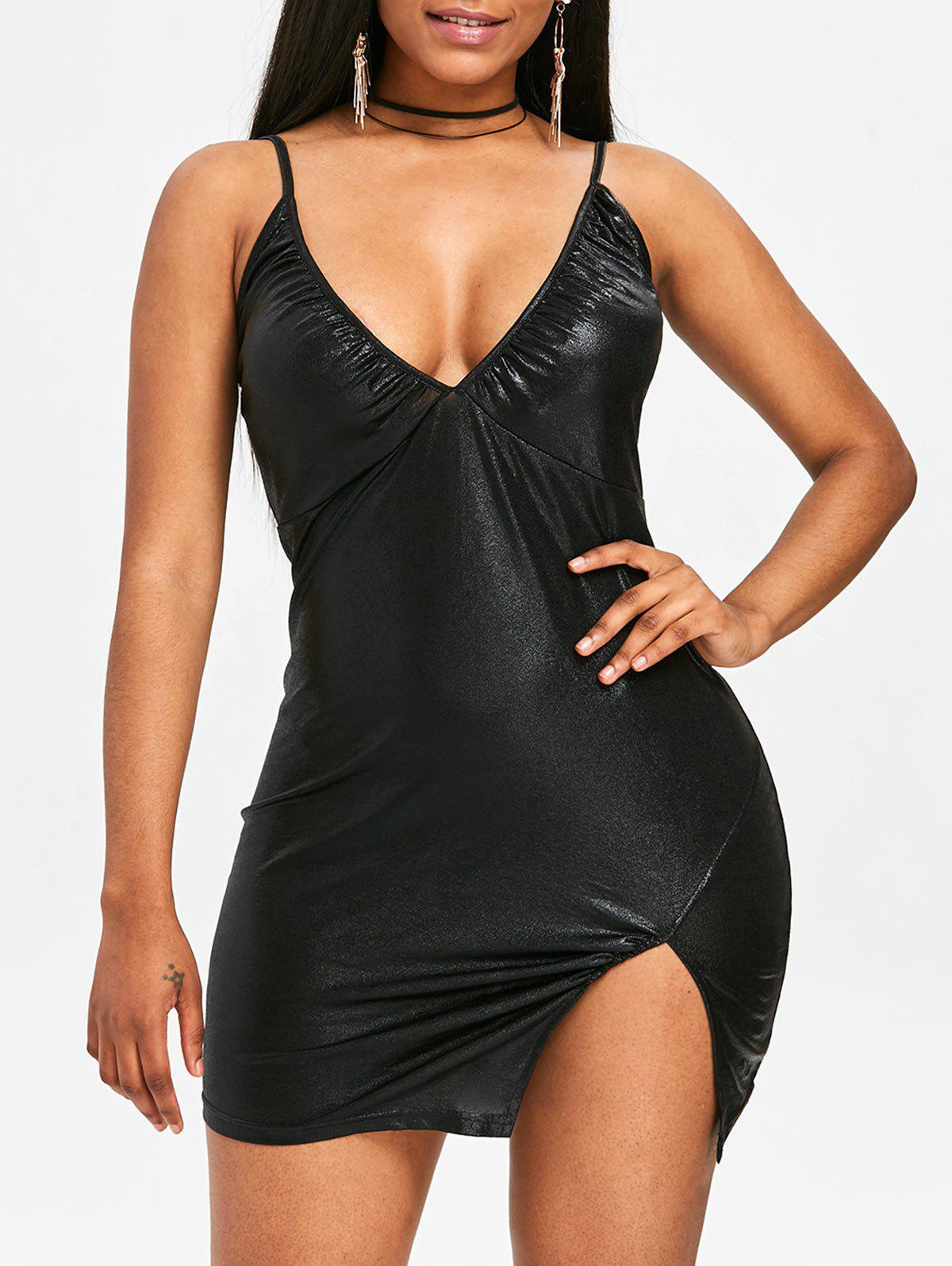 Bodycon Spaghetti Strap Dress - BLACK S