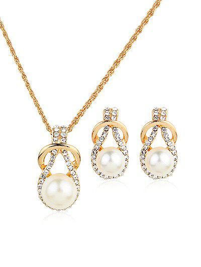 Faux Pearl Rhinestoned Teardrop Necklace and Earrings faux opal geometric earrings
