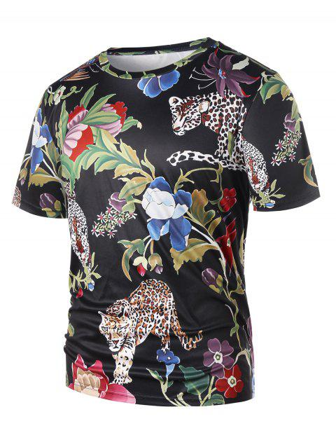 c4096c419 17% OFF] 2019 Short Sleeve Floral Tiger Print T-shirt In BLACK ...