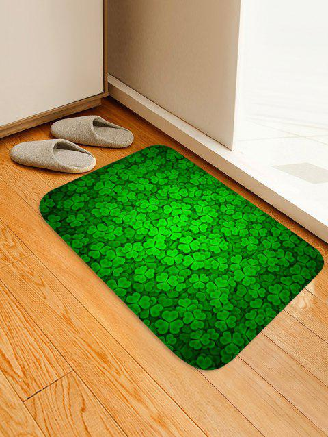 Green Clover Leaves Pattern Non Slip Floor Rug - CLOVER GREEN W20 INCH * L31.5 INCH