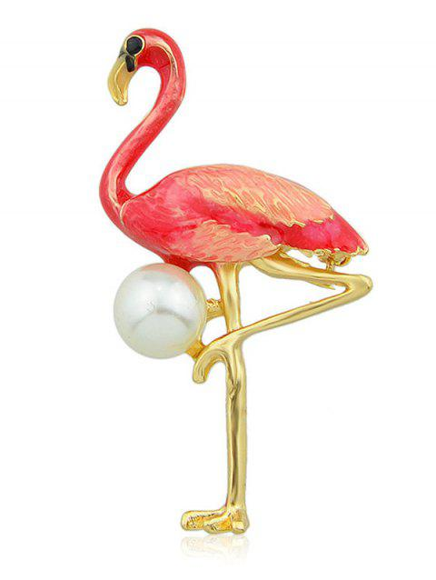 Faux Pearl Crane Brooch - RED