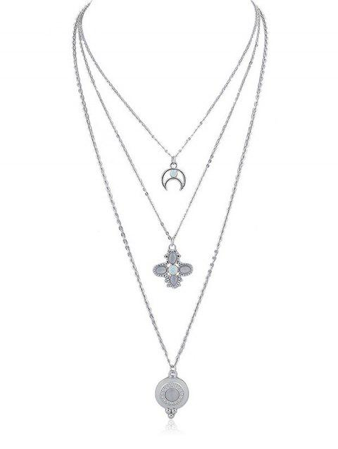 Moon Floral Pendant Layered Chain Necklace - SILVER