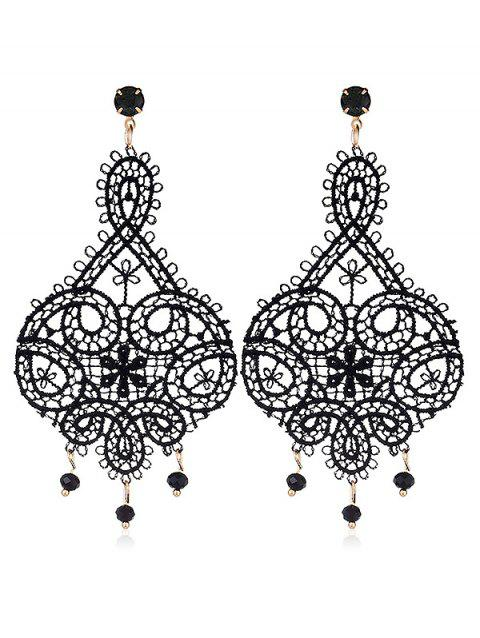 Rhinestone Lace Drop Earrings - BLACK