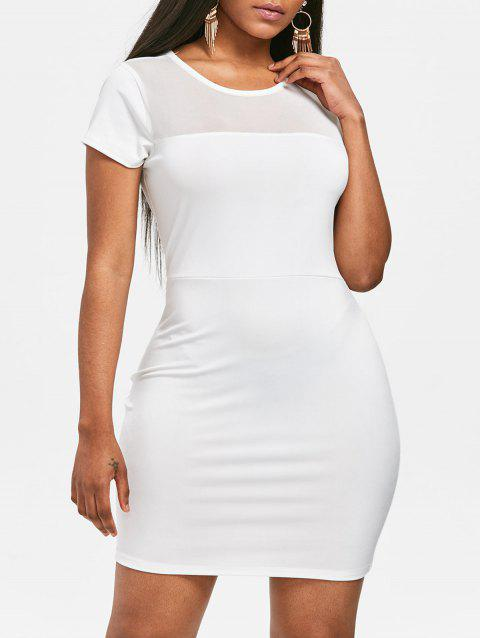Mesh Panel See Through Bodycon Dress - WHITE L