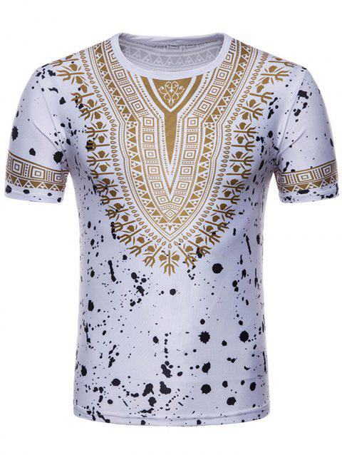 Splash Ink African Dashiki Print Short Sleeve T-shirt - WHITE L