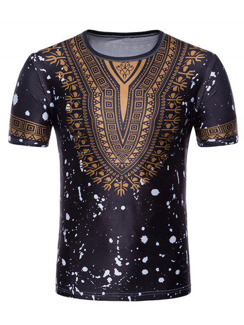 Splash Ink African Dashiki Print Short Sleeve T-shirt - BLACK M