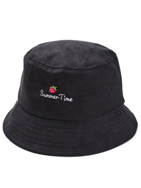 Summer Time Strawberry Embroidery Sun Hat - BLACK