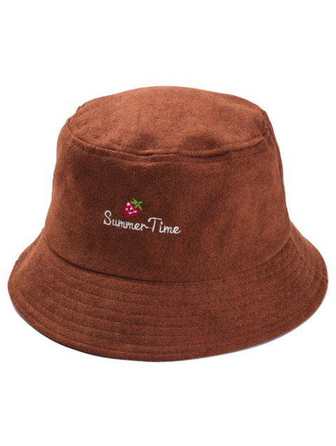 Summer Time Strawberry Embroidery Sun Hat - COFFEE