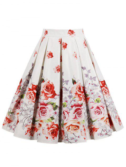 High Rise Floral A Line Skirt - WHITE M