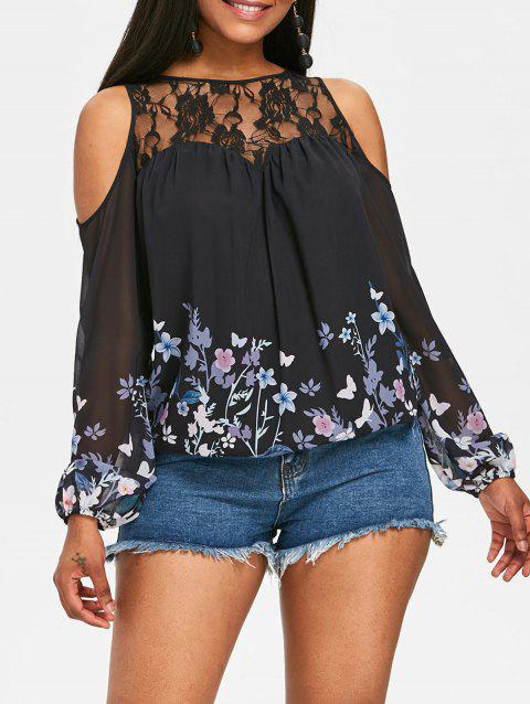 Flower Print Chiffon Cold Shoulder Blouse - BLACK M