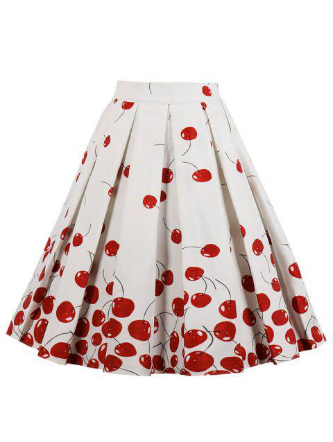 High Rise Cherry Print Midi A Line Skirt - WHITE L
