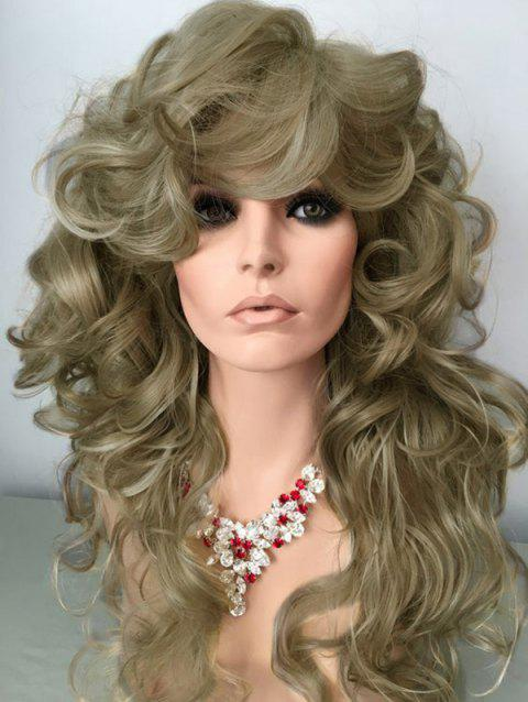 Long Oblique Bang Wavy Synthetic Wig - GOLDENROD