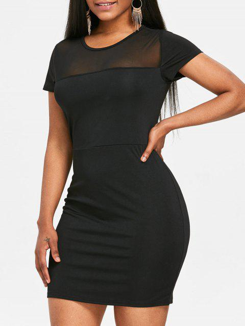 Limited Offer 2019 Mesh Panel See Through Bodycon Dress In Black Xl