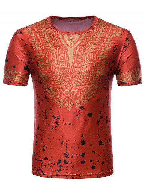 Splash Ink African Dashiki Print Short Sleeve T-shirt - RED L