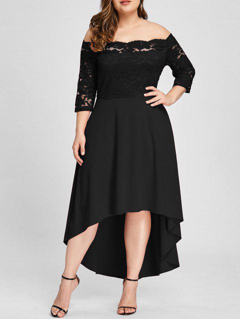 bc58053b857609 17% OFF] 2019 Plus Size Lace Off Shoulder Flare Dress In BLACK ...