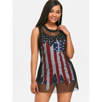 Fishnet T-shirt and American Flag Slip Top Suit - BLACK XL