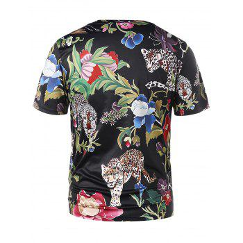 Short Sleeve Floral Tiger Print T-shirt - BLACK L