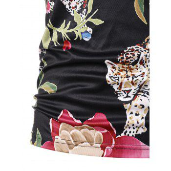 Short Sleeve Floral Tiger Print T-shirt - BLACK XL