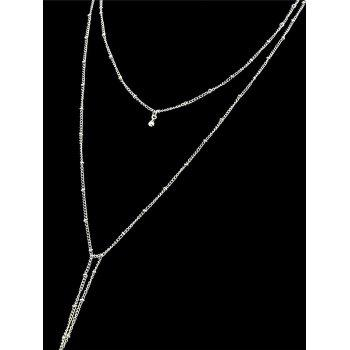 Double Layered Chain Necklace - SILVER