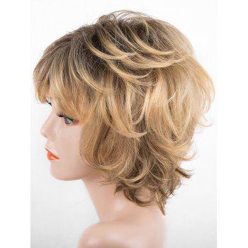 Short Side Bang Slightly Curly Colormix Synthetic Wig - multicolor