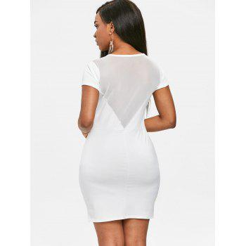 Mesh Panel See Through Bodycon Dress - WHITE S
