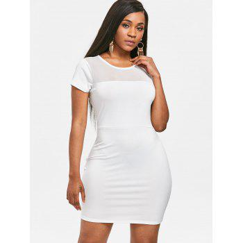 Mesh Panel See Through Bodycon Dress - WHITE M
