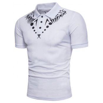 Geometric Star Print Short Sleeve Polo T-shirt - WHITE 2XL