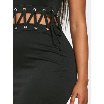 Criss Cross Mini Club Dress - BLACK 2XL