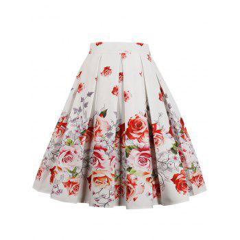 High Rise Floral A Line Skirt - WHITE S