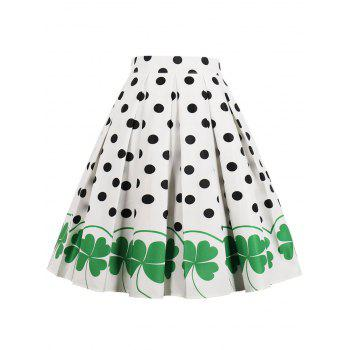 High Rise Printed Polka Dot Pleated Skirt - WHITE L