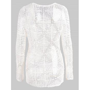 Crochet Long Sleeves Beaded Cover Up - WHITE ONE SIZE