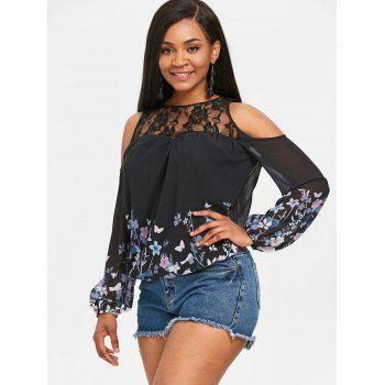 Flower Print Chiffon Cold Shoulder Blouse - BLACK S