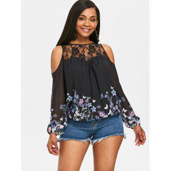 Flower Print Chiffon Cold Shoulder Blouse - BLACK L