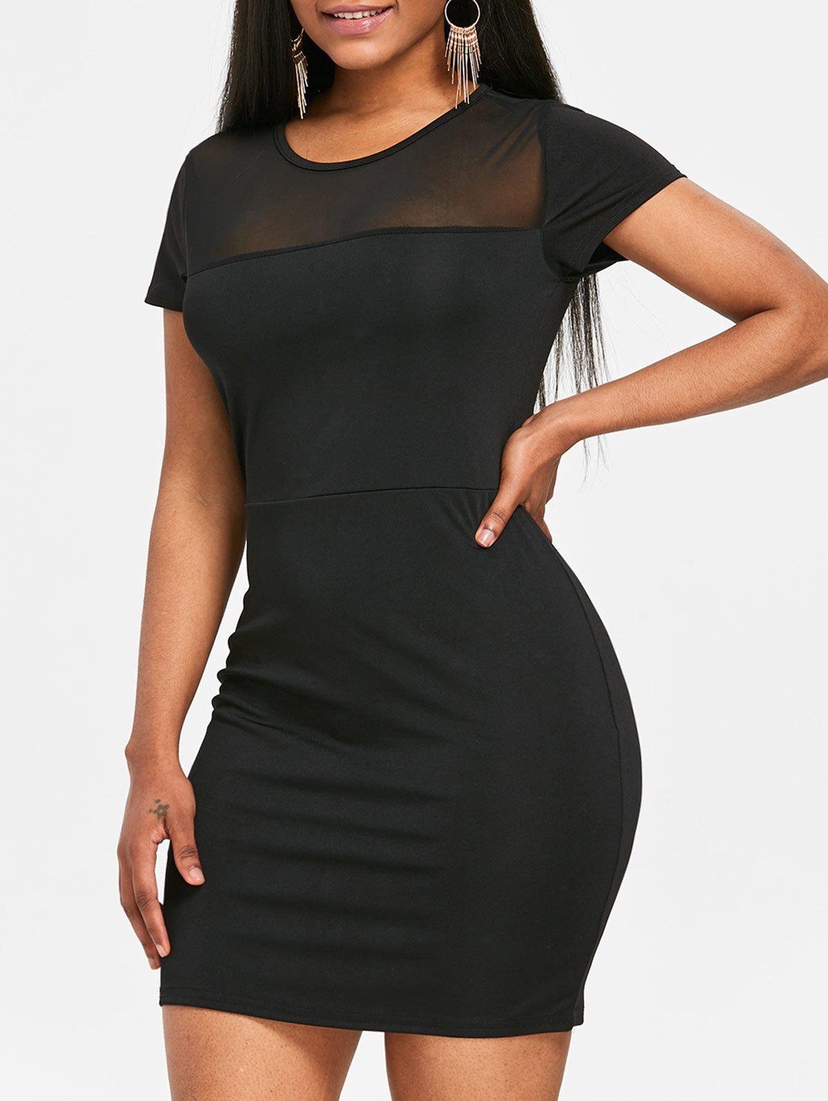 Mesh Panel See Through Bodycon Dress - BLACK L
