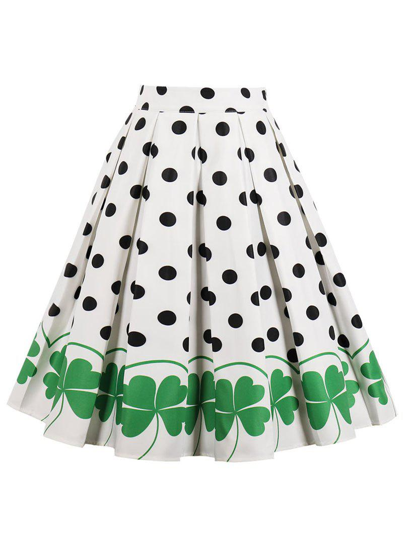 High Rise Printed Polka Dot Pleated Skirt - WHITE S