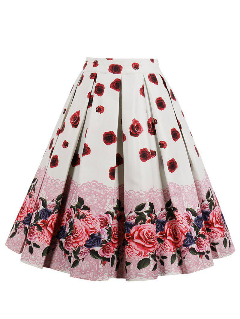 Vintage Floral Midi Pleated Skirt - WHITE 2XL
