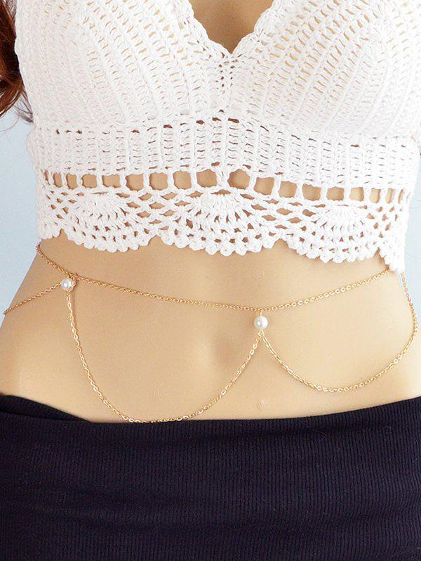Faux Pearl Alloy Belly Chain Jewelry - GOLD