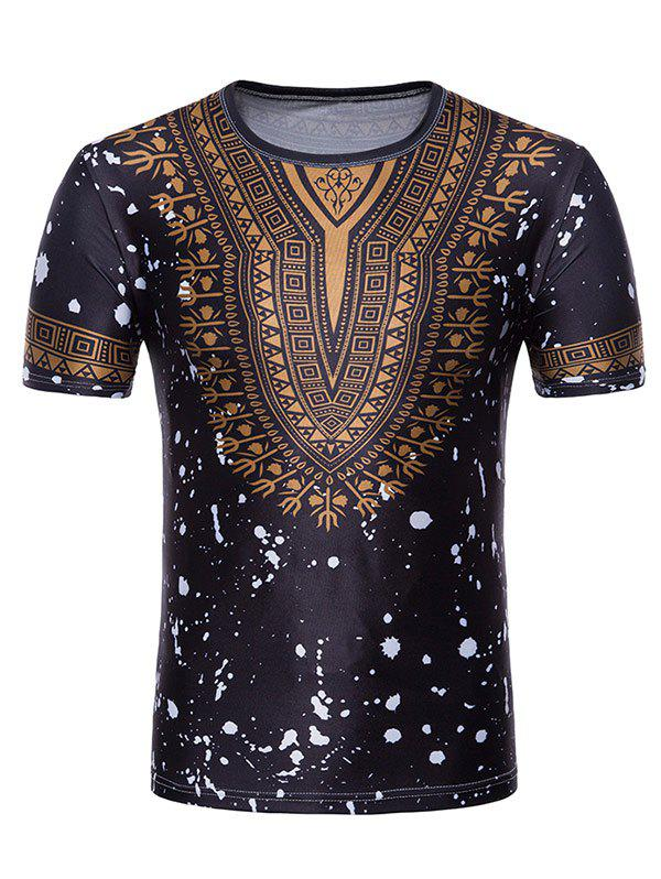 Splash Ink African Dashiki Print Short Sleeve T-shirt - BLACK XL
