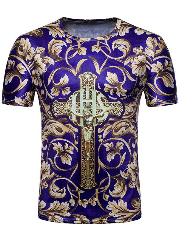 3D Flower Jesus Cross Print Crew Neck T-shirt - multicolor 2XL