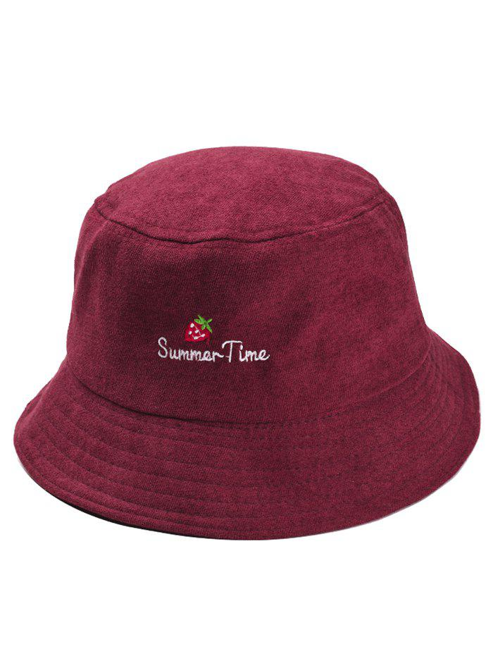 Summer Time Strawberry Embroidery Sun Hat - RED WINE