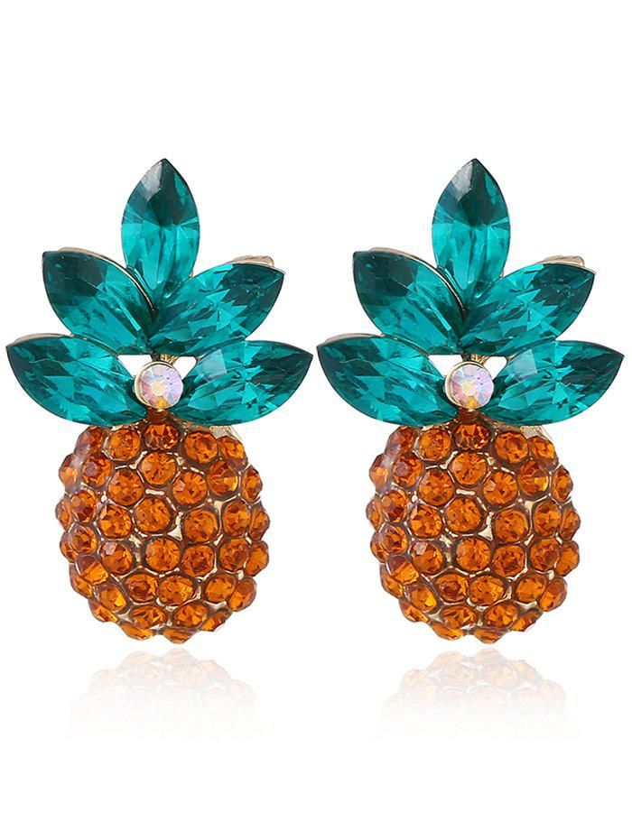 Unique Rhinestone Inlaid Pineapple Drop Earrings цена