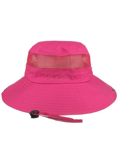 Letter Embroidery Mesh Breathable Fisherman Hat - ROSE RED