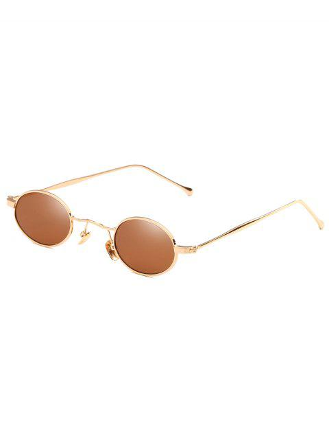 Outdoor Metal Full Frame Flat Lens Oval Sunglasses - CAMEL BROWN