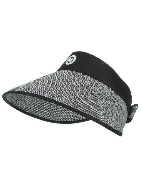 Anti UV Letter M Open Top Straw Sun Hat - BLACK
